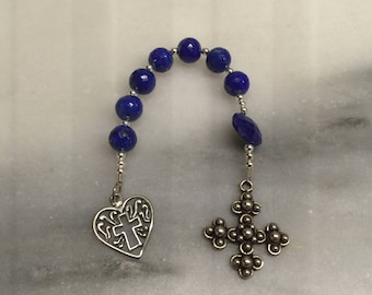 Lapis Lazuli Anglican Chaplet    Lapis and Sterling Silver Chaplet   Episcopal Prayer Beads    Protestant Prayer Beads Pocket Rosary