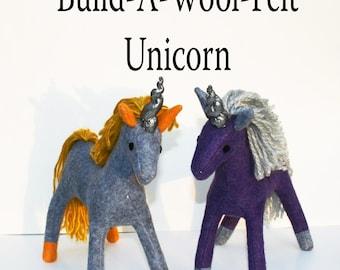 Build-A-Wool-Felt Natural Unicorn ~ Personalized Fantasy Handmade-to-Order Eco Friendly, Stuffed Unicorn, Custom