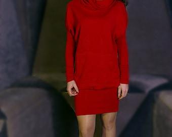 Knit dress, Long sleeve dress, Red dress, Short dress, Dress with pockets