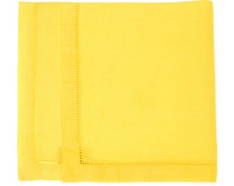 Yellow washed linen hemstitch napkin