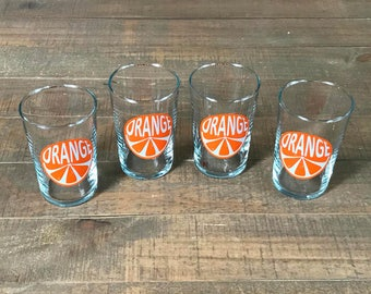 Vintage Orange Juice Glasses, Set of Four, Breakfast Glasses