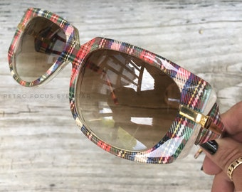 Valentino 70's Rare Plaid Sunglasses Frame Non Prescription Made in Italy Eyewear Glasses Eyeglasses Frames Vintage