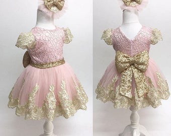 Pink And Gold Dress Etsy