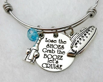 Lose The Shoes CRUISE Engaved Beach Bracelet or Necklace - Beach - Cruise Jewelry - Ocean - Toes In the Sand