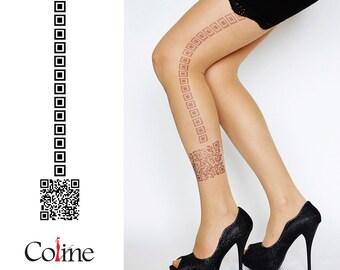 QR Code Tattoo Tights , Cool Hand printed Tights , original tights