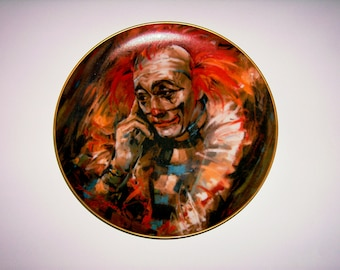 Vintage Collectors Plate, Don Ruffin Arizona Artist, The Clown Also Cries,Self Portrait 1979 Rare Limited Edition, Porcelain Collector Plate