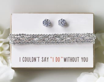 Mother of the Bride Gift Bridesmaid Gifts Bridal Party Gift Wedding Gift for Maid of Honor Silver Jewelry Set Bridesmaid Jewelry BE156-S2