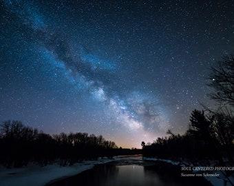 Astro Photography, Milky Way, Starry Night, Fine Art Print, Dark Blue, River, Tree Silhouette, Magical, Universe, Night Sky, Wisconsin