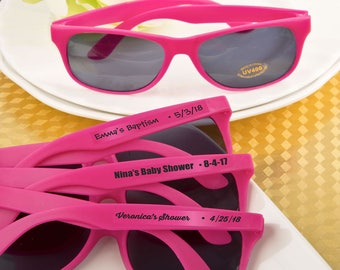 40 Personalized Baby Shower Hot Pink Sunglasses - Set of 40