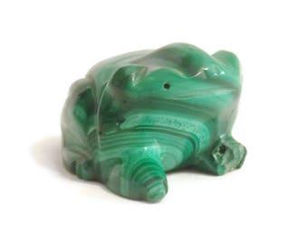 Carved Malachite Frog Statue Figure Figurine Natural Stone Green Nature Malachite Statue Malachite Figurine Frog Figurine Frog Figure