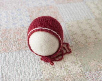 Cranberry Red Newborn Hat, Red Mohair Newborn Hat, Red Mohair Bonnet, Newborn Knit Hat, Great Newborn Photography Prop
