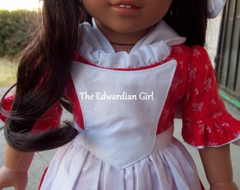 Three of a kind red and white 1770s Colonial dress set. Fits 18 inch play dolls such as American Girl, Springfield, OG. Made in USA