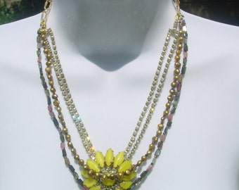 Captured Sun Necklace assemblage statement upcycled recycled repurposed