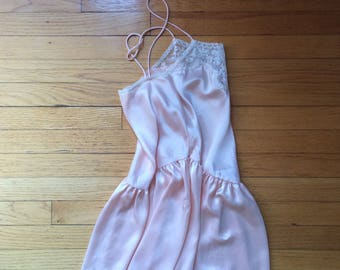vintage 1990's 90's babydoll /  slip dress / lingerie / lace bodice / delicate pink / flouncy minimalism / Made in the USA