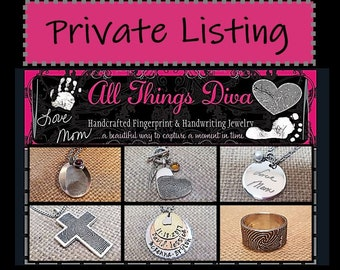 Private Listing for:Desiree-INK-1 LARGE FINGERPRINT heart-solid .999 Fine Silver w/back engraved+b.s (april) +wing+custom rectangle charm