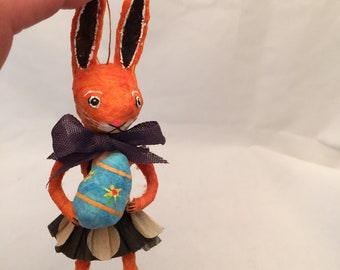 Spun Cotton Orange Bunny Rabbit with painted egg feather tree ornament by Maria Paula