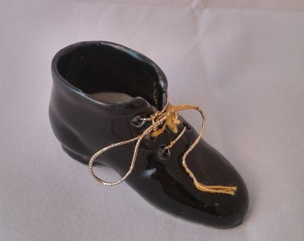 Vintage 1970s German Black Lace Up Ceramic Shoe