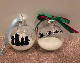 Snowmen & Santa's Sleigh Silhouette Ornaments
