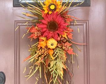 Autumn Door Swag, Sunflower Door Swag, Vertical Teardrop Swag, Fall Door Decor, Fall Door Swag