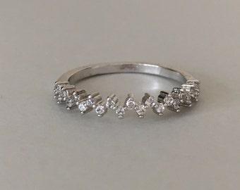 Minimalist Ring White Half Eternity Ring Eternity Band Engagement Band Eternity Ring Promise Ring Half Eternity Stacking Ring Size 8.5 Ring