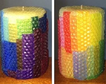 Rainbow Cascade Pure Beeswax Pillar Candle