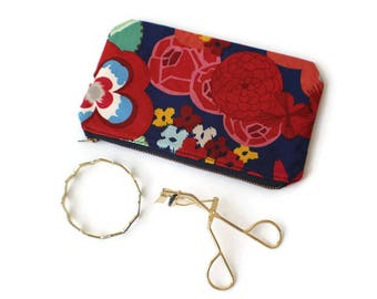 Bright Floral Flat Zipper Pouch / Gadget Pouch / Makeup Pouch / Anything Pouch