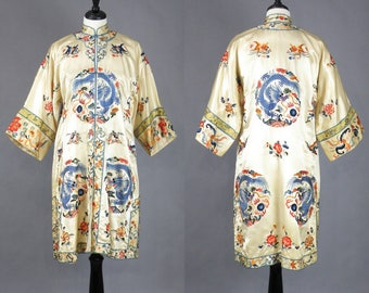 Vintage 1920s Chinese Embroidered Silk Robe Kimono Jacket with Dragons, 20s Asian Flapper Robe, Antique Kimono Chinese Coat