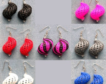 Plastic Canvas Earrings -Conch Shell, Swirl, Sprial Shape