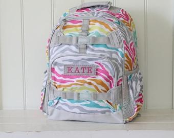 Small Size Pottery Barn Backpack With Monogram -- Rainbow Zebra
