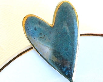 Ceramic Heart Brooch. Jade Green. Blue Gray. Porcelain. Aqua Green. Sage Green. Earth Tone. Clay. Teal. Large Pin. 22K Gold Edge