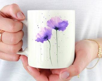 Purple Poppies Mug - Poppy Lover Gift - Purple Poppies Coffee Mug - Unique Purple Poppy Gifts