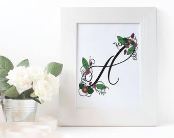 Floral Monogram Letter Print : Art / Wall Decor / Poster