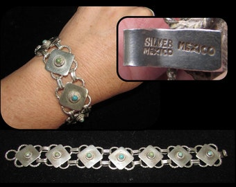 Vintage Sterling Silver Link Squares Turquoise Bracelet, Mexico