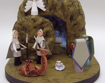 Easter Tomb , Easter Quilling Scene , He is Risen