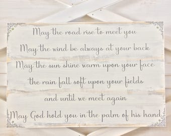 Irish Blessing Sign, Rustic Wood Sign with Irish Blessing, Primitive Wood Sign, Gallery Wall Wood Sign, Housewarming Sign, Gift for New Home