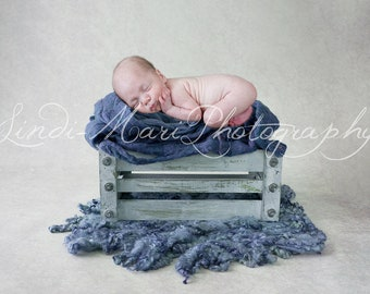 digital Backdrop Newborn Prop Blue Crate