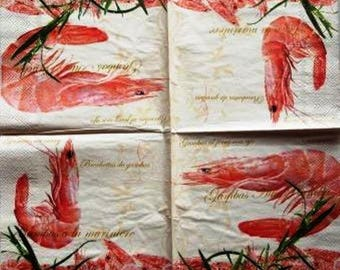 Shrimp, prawn, bouquet #AL007 NAPKIN