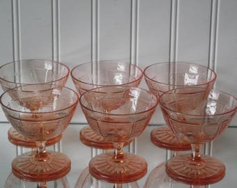 """Six pink Princess footed 3 3/8"""" sherbets, manufactured by the Hocking Glass Co. from the 1930's"""
