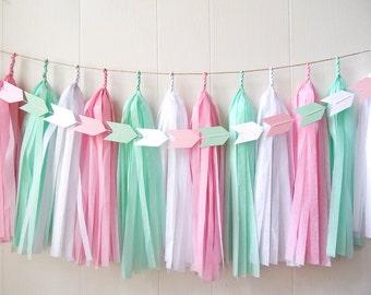 Free Shipping - Tassel Garland - Mint Pink White - Wedding decor - Bridal Shower - Nursery Decor - Photo Prop