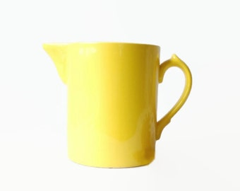 Yellow Pottery Pitcher, Vintage Kitchen Serving, Bright Lemon Yellow Spring or Summer Home Decor