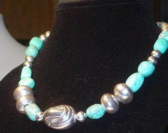 Statement necklace * Bib necklace * Turquoise Silver Necklace * gift for her * free shipping *jewelry gift