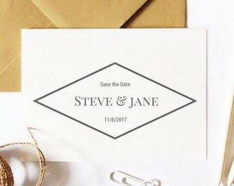 Save the date rubber stamp - create beautiful personalised wedding invitations or favour tags using this wedding stamp. wedding tags,