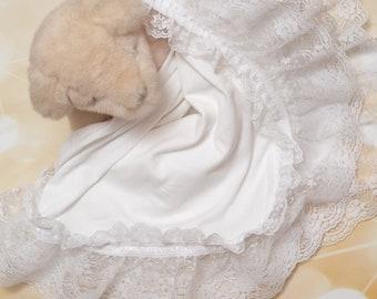 Baby Girl Blanket White Cotton Blanket with 5 Inch Lace Ribbon Baby Girl Blanket White Receiving Blanket Baby Girl Gift