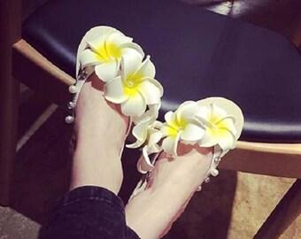 Flip Flops Cute Slipper Thong Flat Shoes Hawaiian Flower Sandal Summer Beach