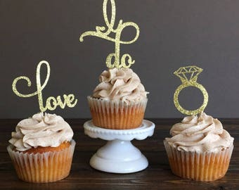 Set of 12 cupcake topper i do shiny Golden love
