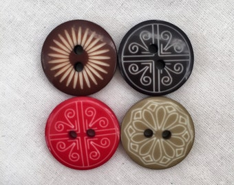 Lot of 4 Vintage Celluloid Buttons