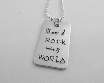 You ROCK my WORLD - Necklace - Anniversary Gift - Gift for Guitar Player - Gift for Him - Music Lover Necklace - Rock and Roll Jewelry