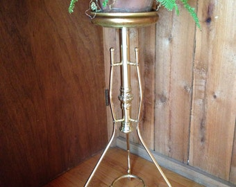 Midcentury Modern Gold Toned Plant Stand//Ball feet//Hollywood Regency