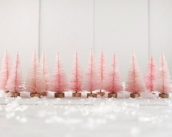 Pink Bottle Brush Trees - One Dozen Dyed Pastel Miniature Sisal Trees