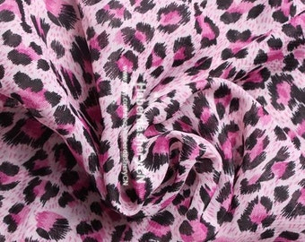 1 Meter Chiffon Fabric CH77-2 - Pink Leopard Design